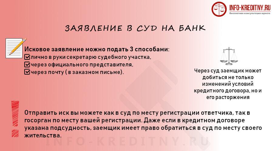 заявление в суд на банк